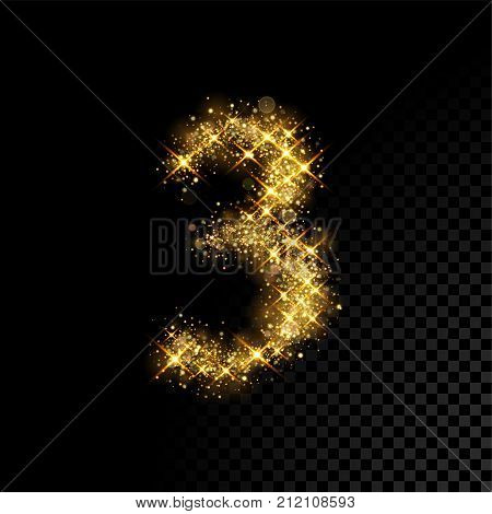 Gold Glittering Number Three 3 On Black Background