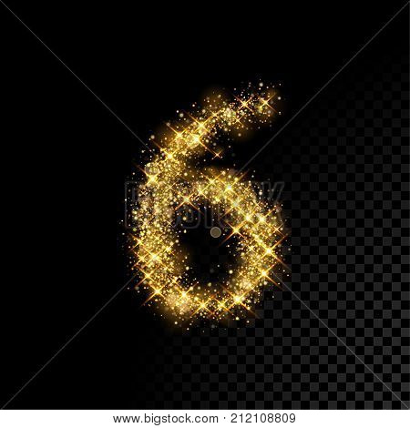 Gold Glittering Number Six 6 On Black Background