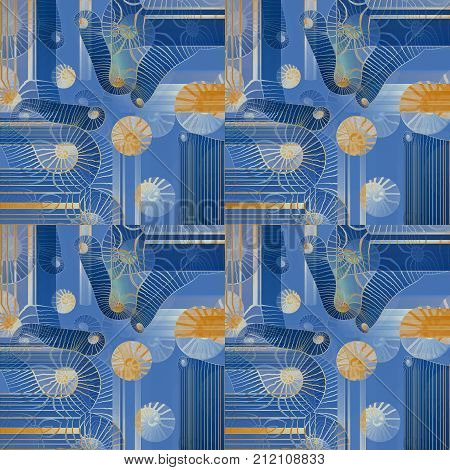 Abstract geometric seamless background. Regular intricate spirals pattern blue, beige, yellow, ocher and white shifted.