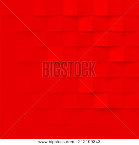 Abstract Red 3D Geometric Pattern Vector Brick Wall Texture Background