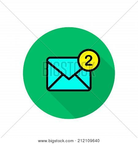 New incoming message icon on green round background. Envelope with notification. Vector flat email illustration.