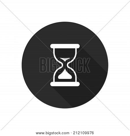 Sand clock flat vector icon on black round background. Time symbol.