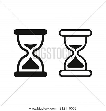 Sand clock icon simple set. Hourglass vector flat black illustration.
