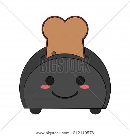 Toaster with bread cute kawaii cartoon vector illustration