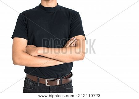 Man standing and do arms crosses on isolated white background. Black T-shirt and jeans with brown belt in Fashion concept