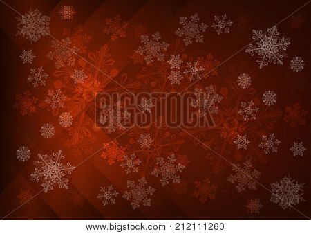 Abstract dark brown background with snowflakes - vector