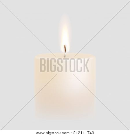 Candle flame burning on vector white background. 3D realistic isolated scented paraffin wax candle light poster