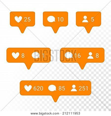 Notification Application Icons Heart, Message, Friend Request Vector Set