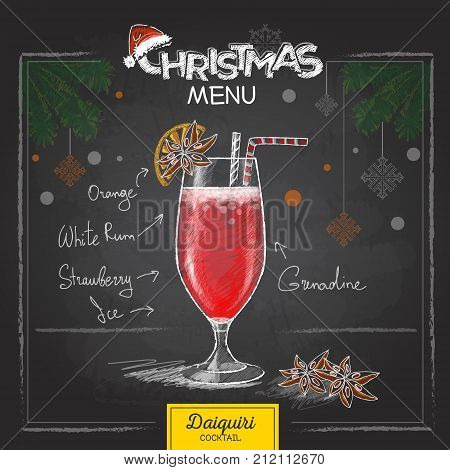 Chalk drawing christmas menu design. Cocktail daiquiri