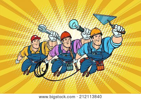 Set electrician Builder and repairer professionals. Comic book cartoon pop art retro vector illustration drawing