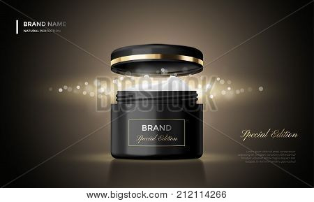 Cosmetic Package Advertising Vector Cream Jar Premium Black Glitter Background