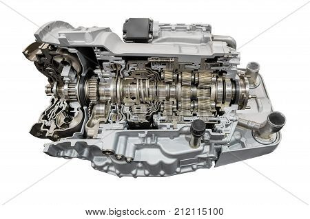 Automatic transmission with retarder in section. Isolated on white background.