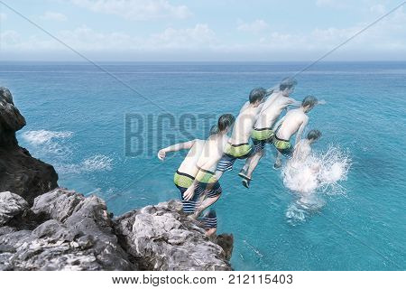 Motion Capture Of A Young Man Jumping In The Ocean