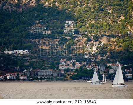 Turunc, Turkey: 30 Oct 2017, Scenery Of The Ocean And Boats Of Marmaris