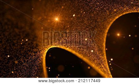 Fantasy abstract technology, science and engineering background with curved lines and golden particles. Depth of field settings. 3d rendering.