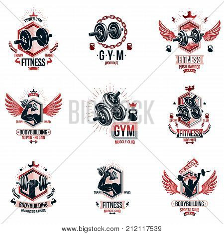 Vector weightlifting theme logotypes and inspirational leaflets collection made using dumbbells barbells disc weights sport equipment and strong man perfect body.