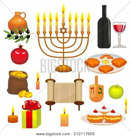 Set of Hanukkah Celebration Elements. Colorful Objects in Cartoon Style for Greeting Cards Invitations Banners. Vector Illustration of Jewish Holiday Symbols