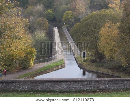 Chirk Aqueduct is a man made aqueduct taking the canal across the hills of Shropshire