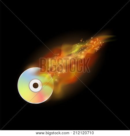 Digital Burning Compact Disc with Fire and Flame on Dark Background