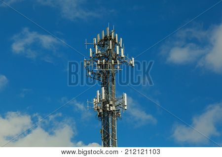 Telecommunication Tower On The Background Of The Sky