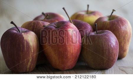 Red apples on a table for eating