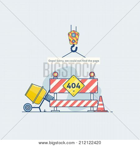 Flat line icon concept of 404 Error Page or File not found icon.Error 404 page with road construction signs.Flat line illustration concept.