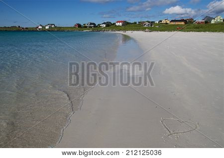 Lofoten beach in sunny summer day, Norway