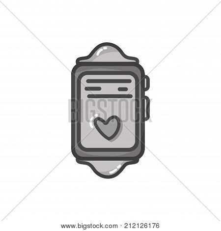 grayscale smartwatch technology object with heartbeat rhythm vector illustration