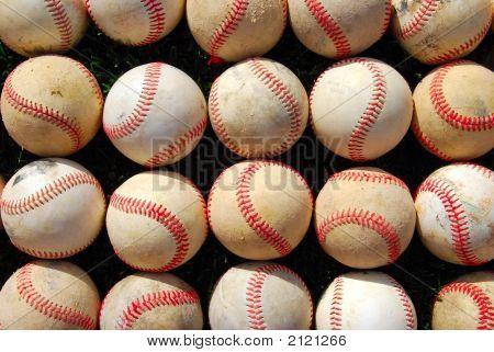 Baseballs - Rows Of Old Balls