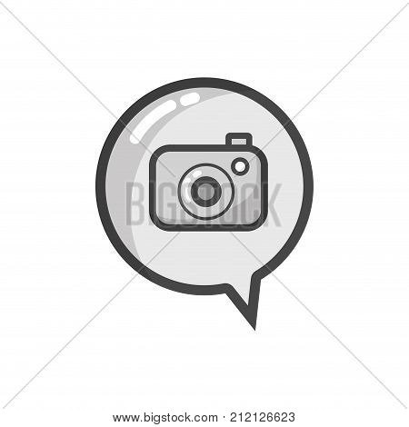 grayscale digital camera technology inside chat bubble vector illustration