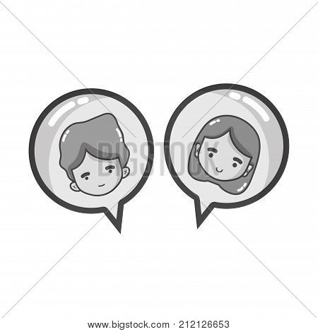 grayscale boy and girl head inside chat bubble vector illustration