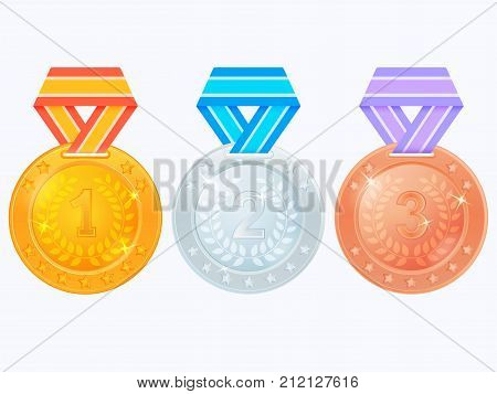 Gold, silver and bronze award medals isolated on white background. Set of winner medals. Gold medal, silver medal and bronze medal icons. Vector illustration