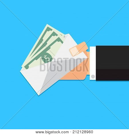 Envelope with money cash in hand. Vector bribe in envelope illustration of salary in envelope