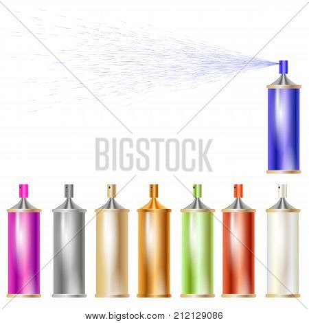 Set of Colored Sprays Isolated on White Background