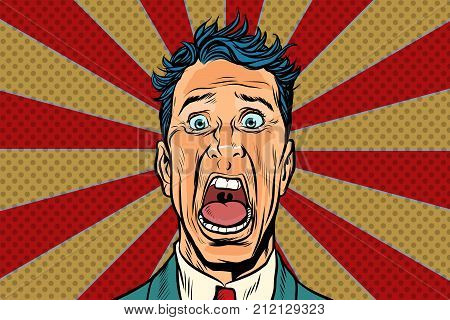 pop art man screams in horror, panic face. Pop art retro vector illustration