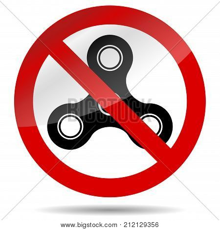 No finger spinner symbol. Vector spiner ban and stop prohibition label illustration