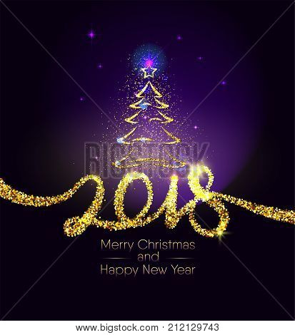 Christmas and happy New Year gold typography sign on dark violet background. Golden glitter texture number 2018. Chic xmas greeting card with tree and star. Vector Illustration