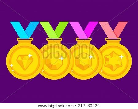 Set of winner medals with colored ribbons. Gold medal for first place. Gold medal with gems