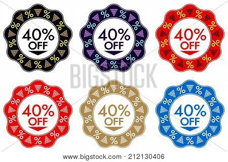 40 Off Discount Sticker. Set Of Banner Design With 40 Off