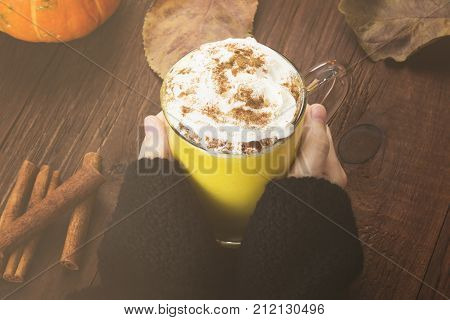 Woman Hands In Black Sweater Holding A Cup Of Pumpkin Latte With Spices (cinnamon, An Anise) And Whi