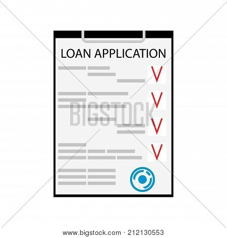 Loan application flat isolated on white. Business loan and vector personal loan document car loan and mortgage illustration