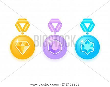 Set of beautiful colored medals with jewels. Collection of award medals with ribbons. Medal isolated on white. Medal icon set. Vector illustration