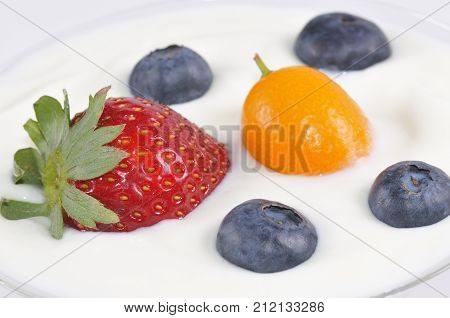 A macro from Various fruit and yoghurt