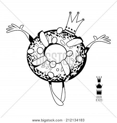 Roscon de Reyes (King's cake). Spanish traditional Christmas pastry. Black and white. Vector illustration