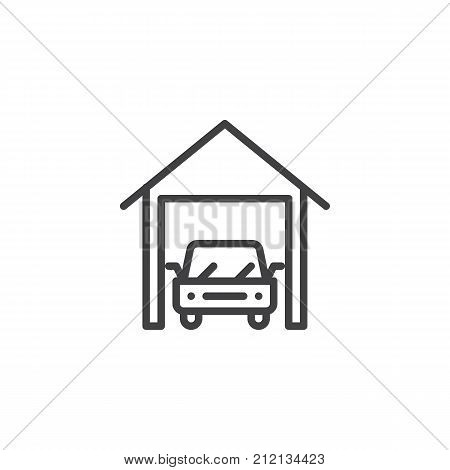 Car garage line icon, outline vector sign, linear style pictogram isolated on white. Indoor parking symbol, logo illustration. Editable stroke