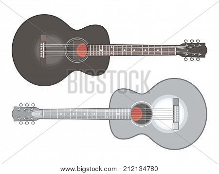 Acoustic guitar isolated on white background. Classical acoustic guitars, flat vector illustration