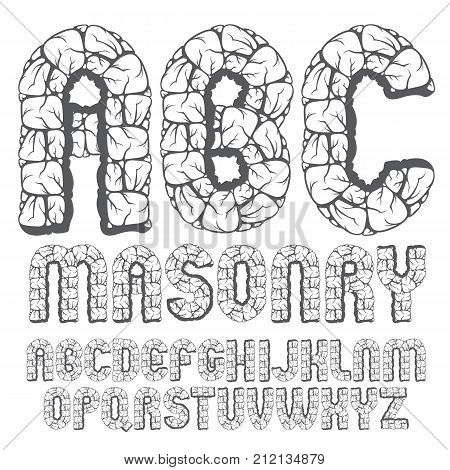 Set Of Trendy Old Vector Capital English Alphabet Letters, Abc Isolated. Bold Rounded Font, Typescri