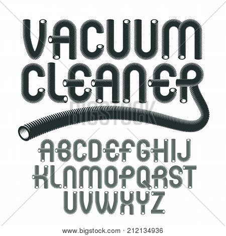 Vector Upper Case Modern Alphabet Letters Set. Funky Rounded Font, Typescript For Use In Logo Creati