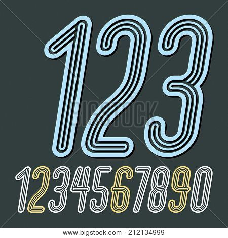 Set Of Stylish Disco Vector Digits, Modern Numerals Collection. Funky Italic Thin, Narrow Numerals F