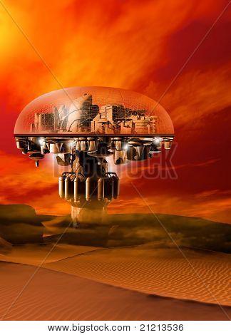 Eine futuristische gewölbte Stadt